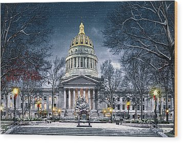 Winter At The Capitol Wood Print by Mary Almond