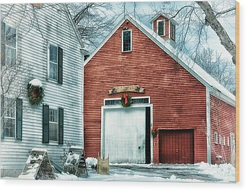 Winter At The Farm Wood Print by Tricia Marchlik