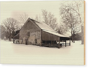 Winter At The Horse Barn Wood Print
