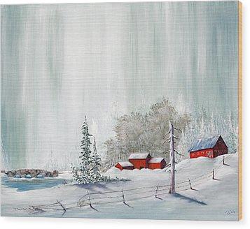 Winter At The Lake Wood Print