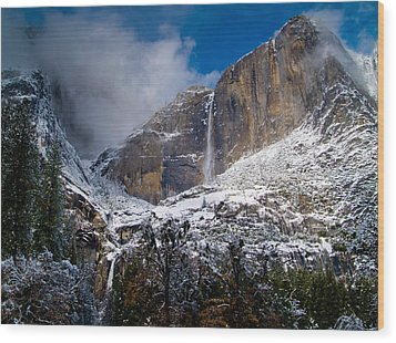 Winter At Yosemite Falls Wood Print by Bill Gallagher