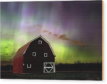 Winter Aurora Wood Print