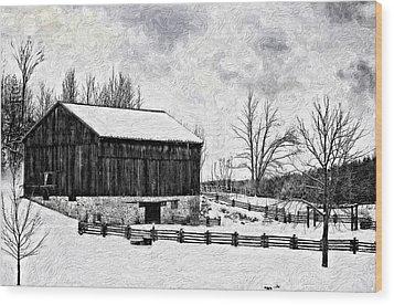 Winter Barn Impasto Version Wood Print by Steve Harrington