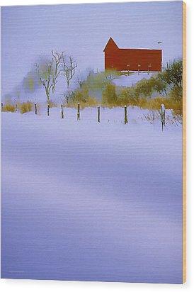 Winter Barn Wood Print by Ron Jones