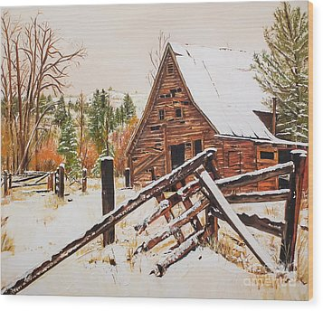 Wood Print featuring the painting Winter - Barn - Snow In Nevada by Jan Dappen
