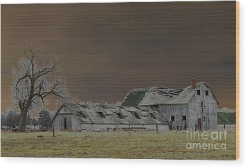 Winter Barns Wood Print by Alys Caviness-Gober