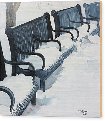 Wood Print featuring the painting Winter Benches by Tom Riggs