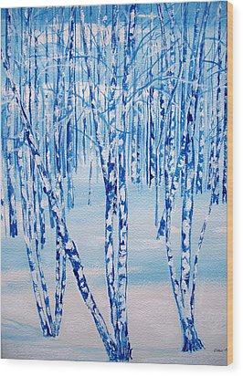 Wood Print featuring the painting Winter Birch by Ellen Canfield