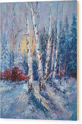 Winter Birch Trees Wood Print by Holly LaDue Ulrich