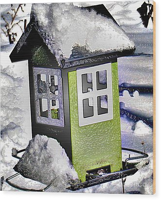 Wood Print featuring the photograph Winter Birdfeeder by Nina Silver