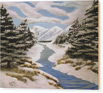 Wood Print featuring the painting Winter Bliss by Sheri Keith