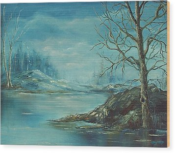 Winter Blue Wood Print by Mary Wolf