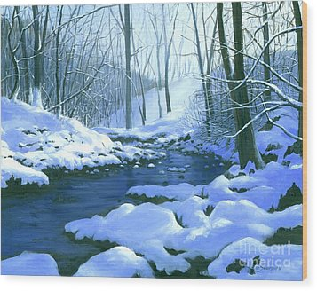 Wood Print featuring the painting Winter Blues - Sold by Michael Swanson