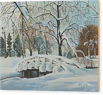 Wood Print featuring the painting Winter Bridge by Cathy Long