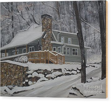Wood Print featuring the painting Winter - Cabin - In The Woods by Jan Dappen