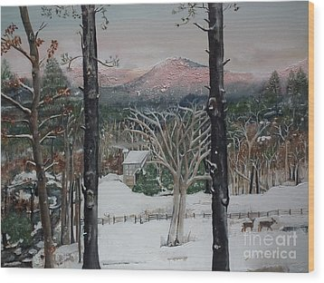 Wood Print featuring the painting Winter - Cabin - Pink Knob by Jan Dappen