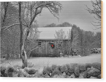 Winter Cabin Wood Print by Tricia Marchlik