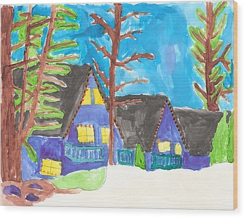 Wood Print featuring the painting Winter Cabins by Artists With Autism Inc
