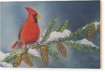 Winter Cardinal 2 Wood Print by Melinda Saminski