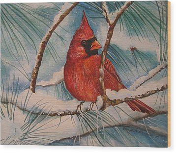 Winter Cardinal Wood Print by Cheryl Borchert