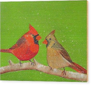 Winter Cardinals Wood Print