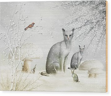 Winter Cats Wood Print by Elaine Manley