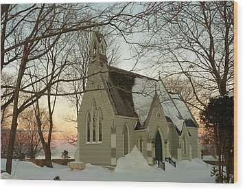 Winter Chapel Wood Print by Elaine Franklin