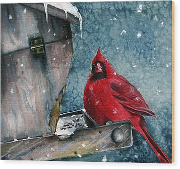 Wood Print featuring the painting Winter Chills by Margit Sampogna