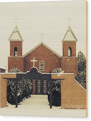 Winter Church Wood Print