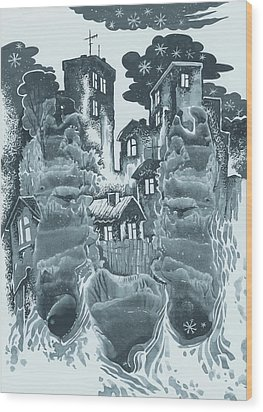 Winter City Wood Print