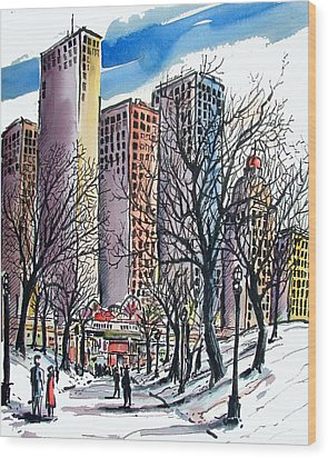 Wood Print featuring the painting Winter City by Terry Banderas