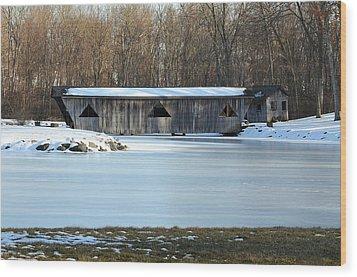 Winter Covered Bridge Wood Print by Jennifer  King