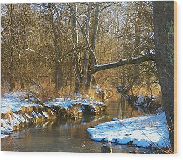 Winter Creek Wood Print by Joyce Kimble Smith