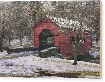 Winter Crossing In Elegance - Carroll Creek Covered Bridge - Baker Park Frederick Maryland Wood Print by Michael Mazaika