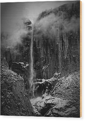 Winter Day Upper Yosemite Falls Ca Wood Print by Troy Montemayor