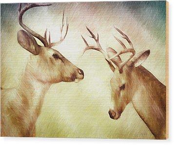 Winter Deer Wood Print by Bob Orsillo