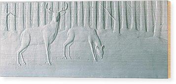 Winter Stag And Deer Wood Print by Deborah Dendler
