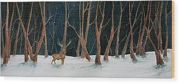 Winter Deer Wood Print