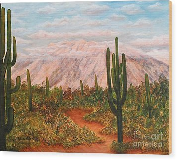 Wood Print featuring the painting Winter Desert At Sunset by Judy Filarecki