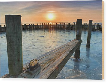 Winter Docks Wood Print by Jennifer Casey