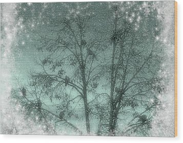 Winter Doves Wood Print by Diane Alexander