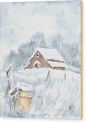 Winter Down On The Farm Wood Print by Carol Wisniewski