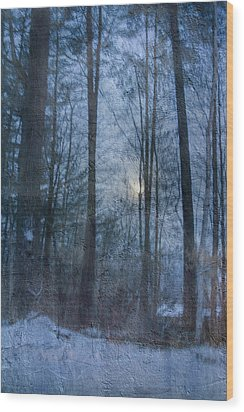 Winter Early Morning Setting Moon Wood Print by Betty  Pauwels