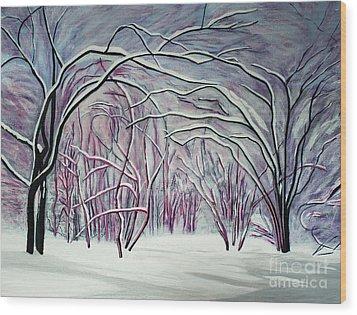 Winter Fairies Wood Print by Barbara McMahon