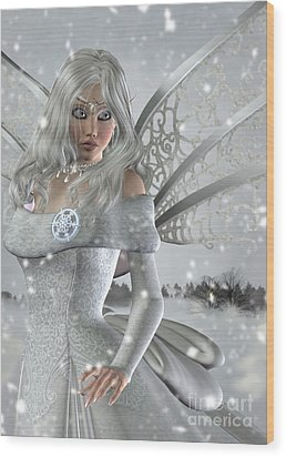 Winter Fairy In The Snow Wood Print