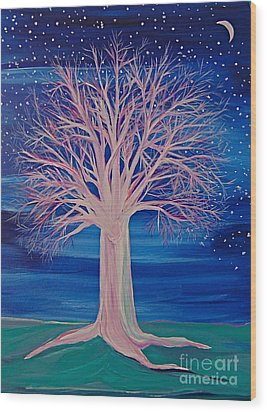 Winter Fantasy Tree Wood Print by First Star Art