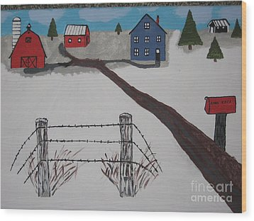 Wood Print featuring the painting Winter Farm by Jeffrey Koss