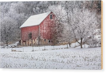 Winter Farm Wood Print
