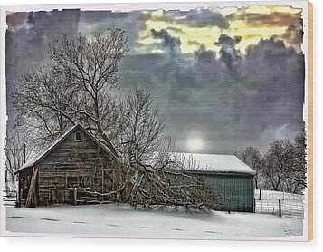 Winter Farm Polaroid Transfer  Wood Print by Steve Harrington