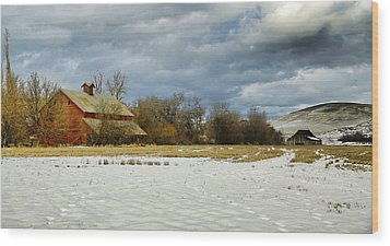 Winter Farm Wood Print by Steve McKinzie